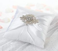 White Jeweled Motif Wedding Ring Cushion